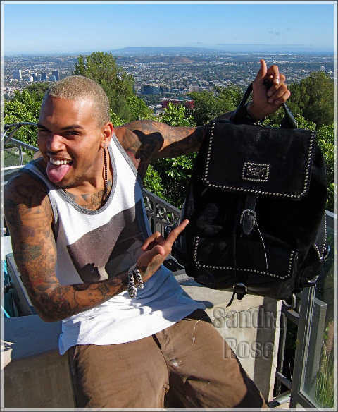 Chris Brown Wearing Louis Stewart Collection Rockstar backpack with Swarovski Crystals