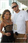 Adrienne Bailon and Ciroc Miami rep Johan Durango