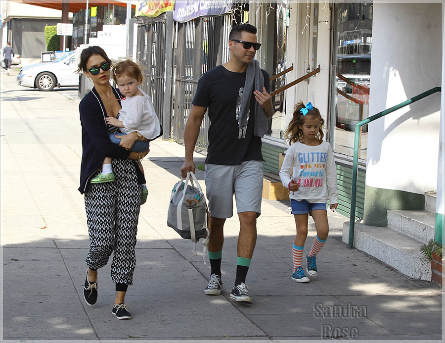 Jessica Alba and Cash Warren out and about with their daughters in West Hollywood