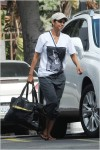 Halle Berry arriving on the set of her TV series 'Extant'