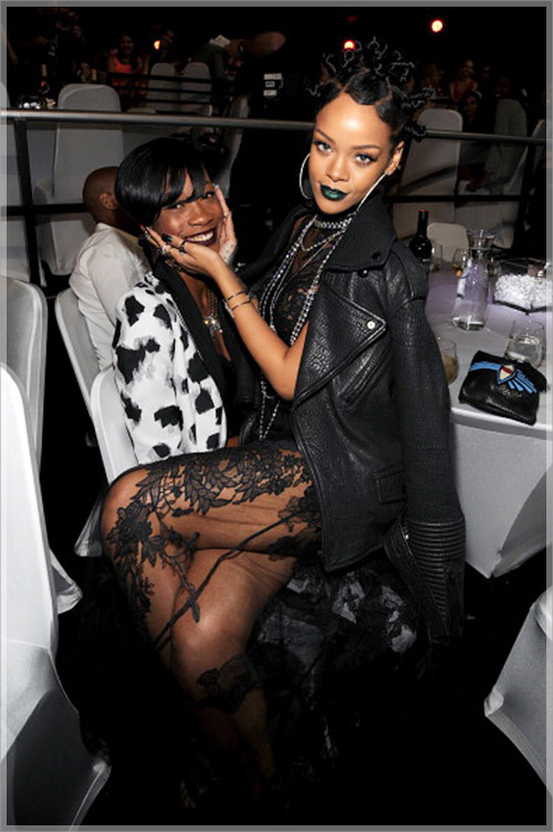 Rihanna and bestie Melissa Forde attend 2014 iHeartRadio Music Awards - Backstage & Audience