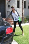 V. Stiviano a day after a attempted break in  at home