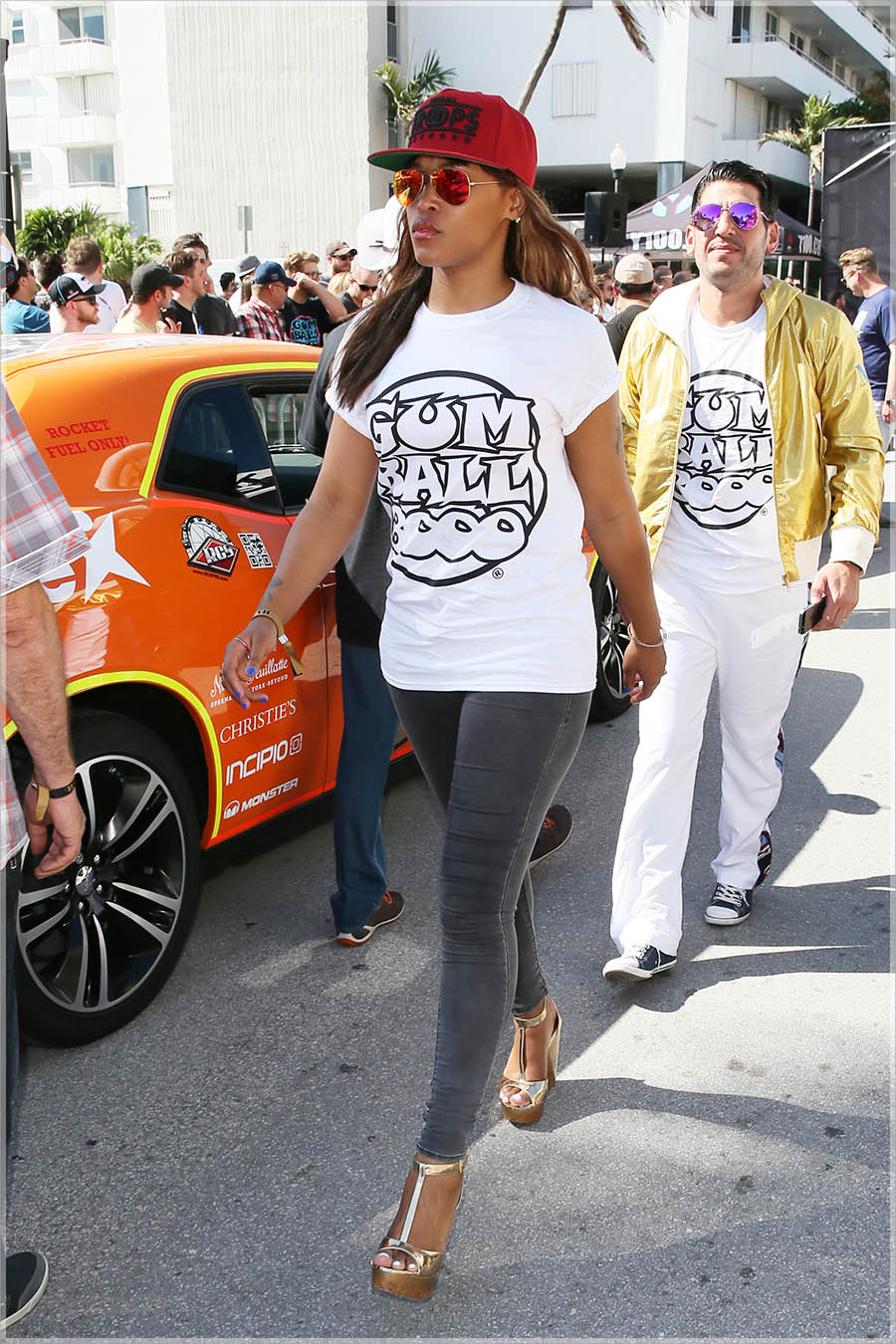 Eve at The 2014 Gumball 3000 starting grid Day 1