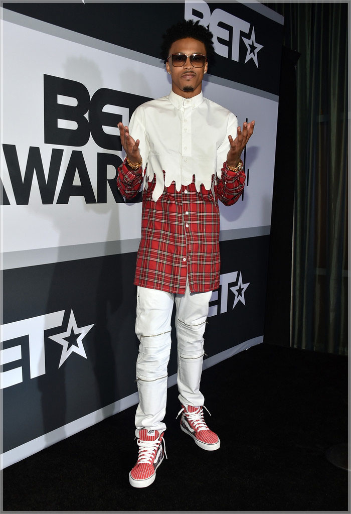August Alsina wearing Roper red plaid with dip detail shirt