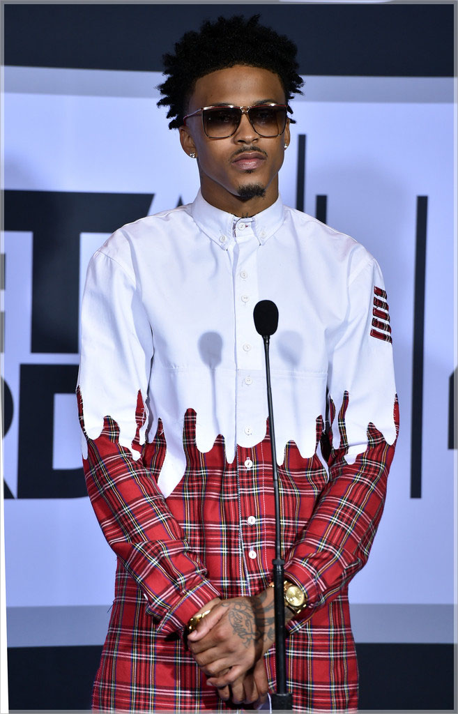 August Alsina wearing Roper red plaid with dip detail shirt1