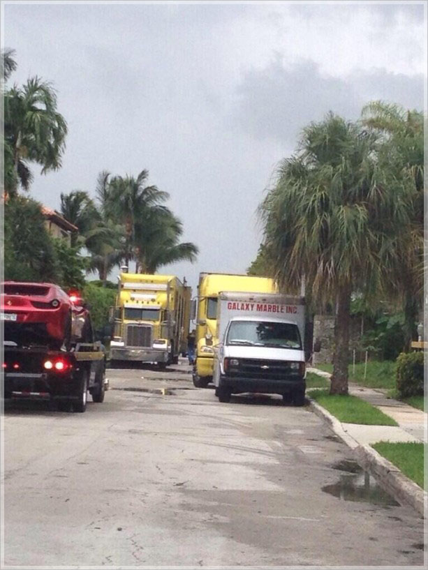 Moving trucks spotted outside LeBron home