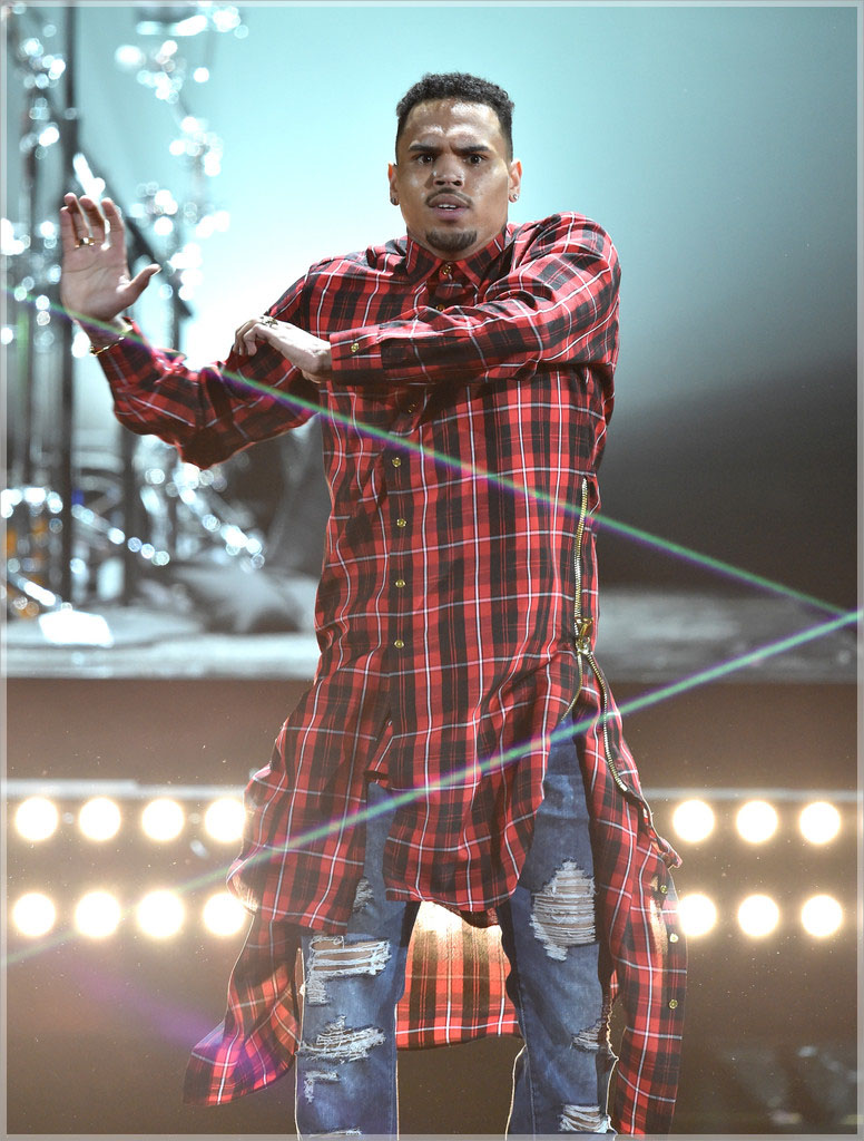Chris Brown wearing custon plaid extended button shirt dress