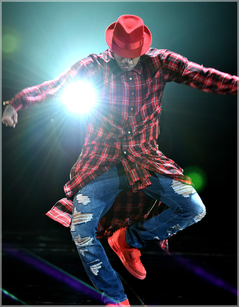 Chris Brown wearing custon plaid extended button shirt dress1