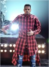 Chris Brown wearing custon plaid extended button shirt dress2