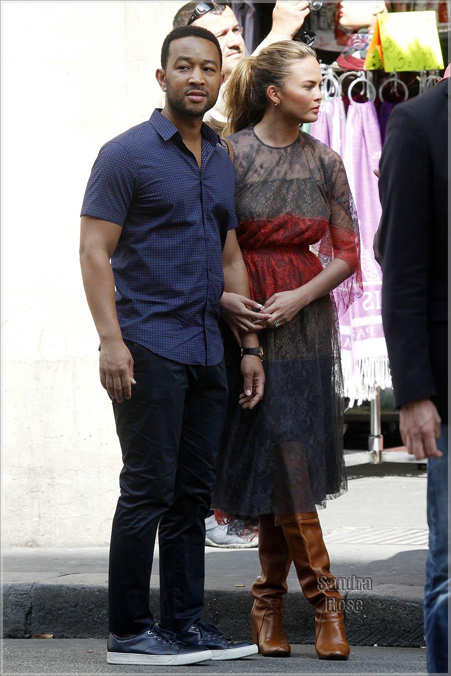 John Legend and Christine Teigen in Paris