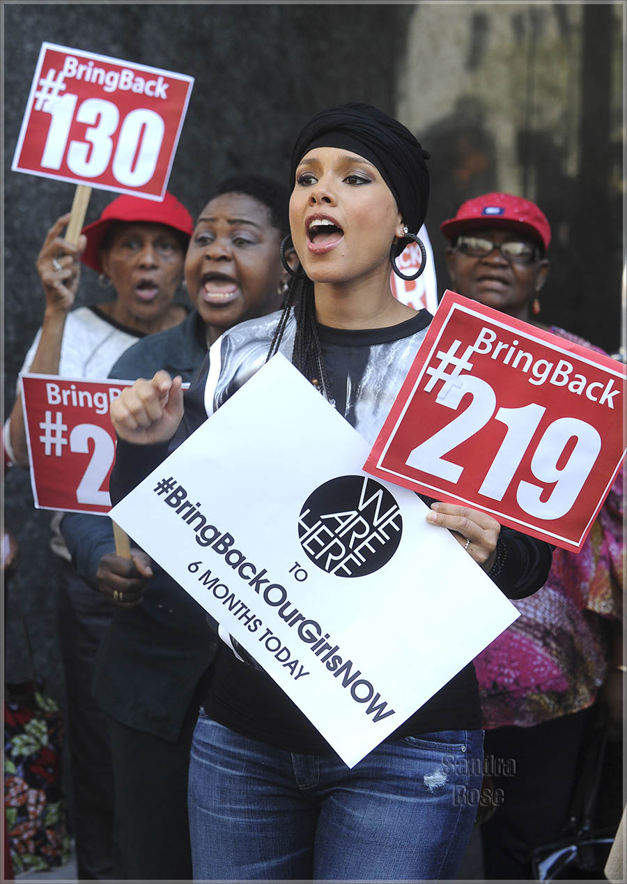 Alicia Keys and husband, producer-rapper Swizz Beatz hold a protest outside the Nigerian Consulate