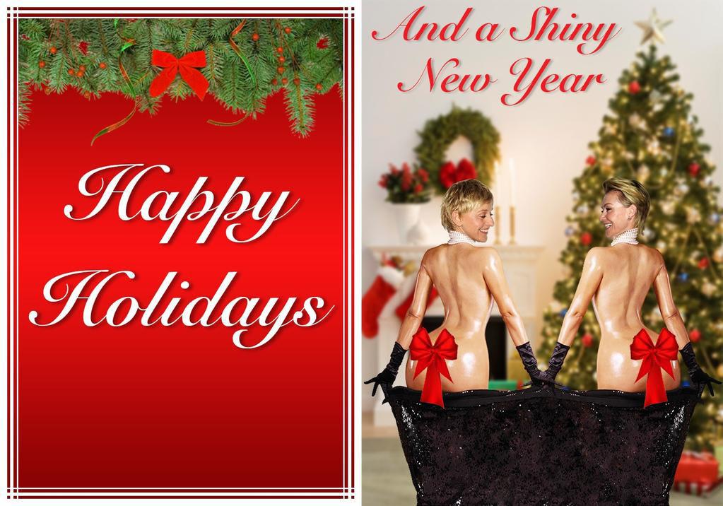 Ellen and Portia Degeneres holiday greeting card