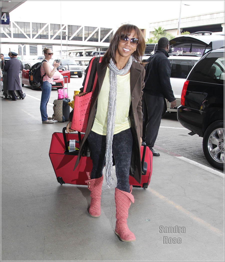 Holly Robinson Peete depart from Los Angeles International Airport