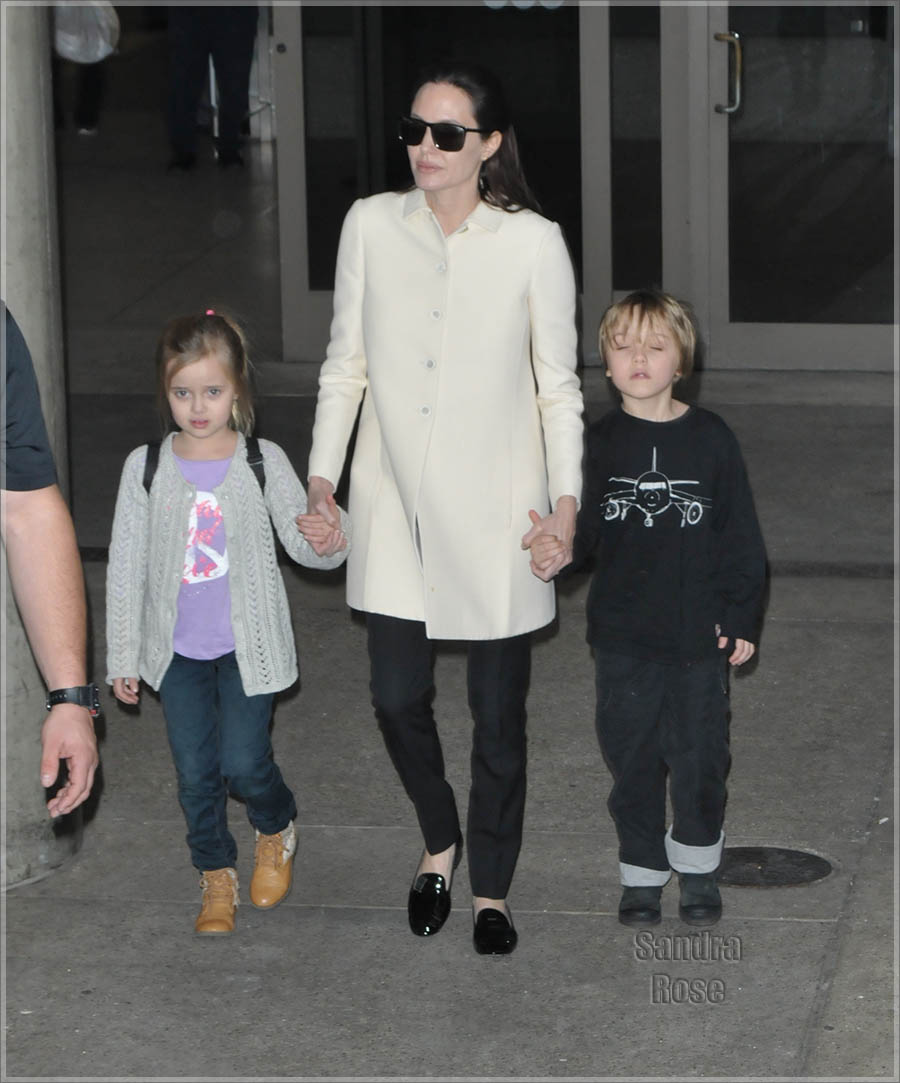 Angelina Jolie and her children at Los Angeles International Airport (LAX)