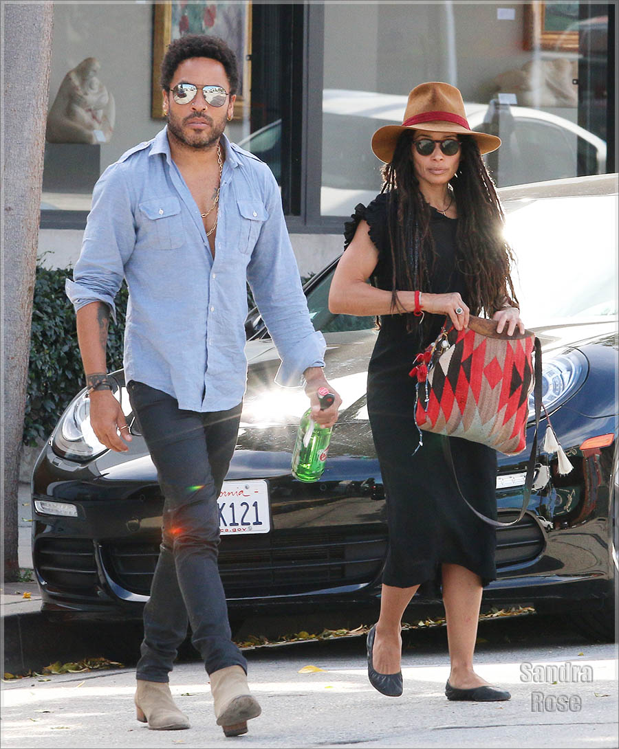 Lenny Kravitz and his ex-wife Lisa Bonet go for lunch together at Gracia Madre Restaurant