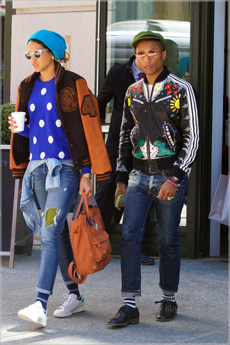 Pharrell Williams and Helen Lasichanh out and about in SoHo