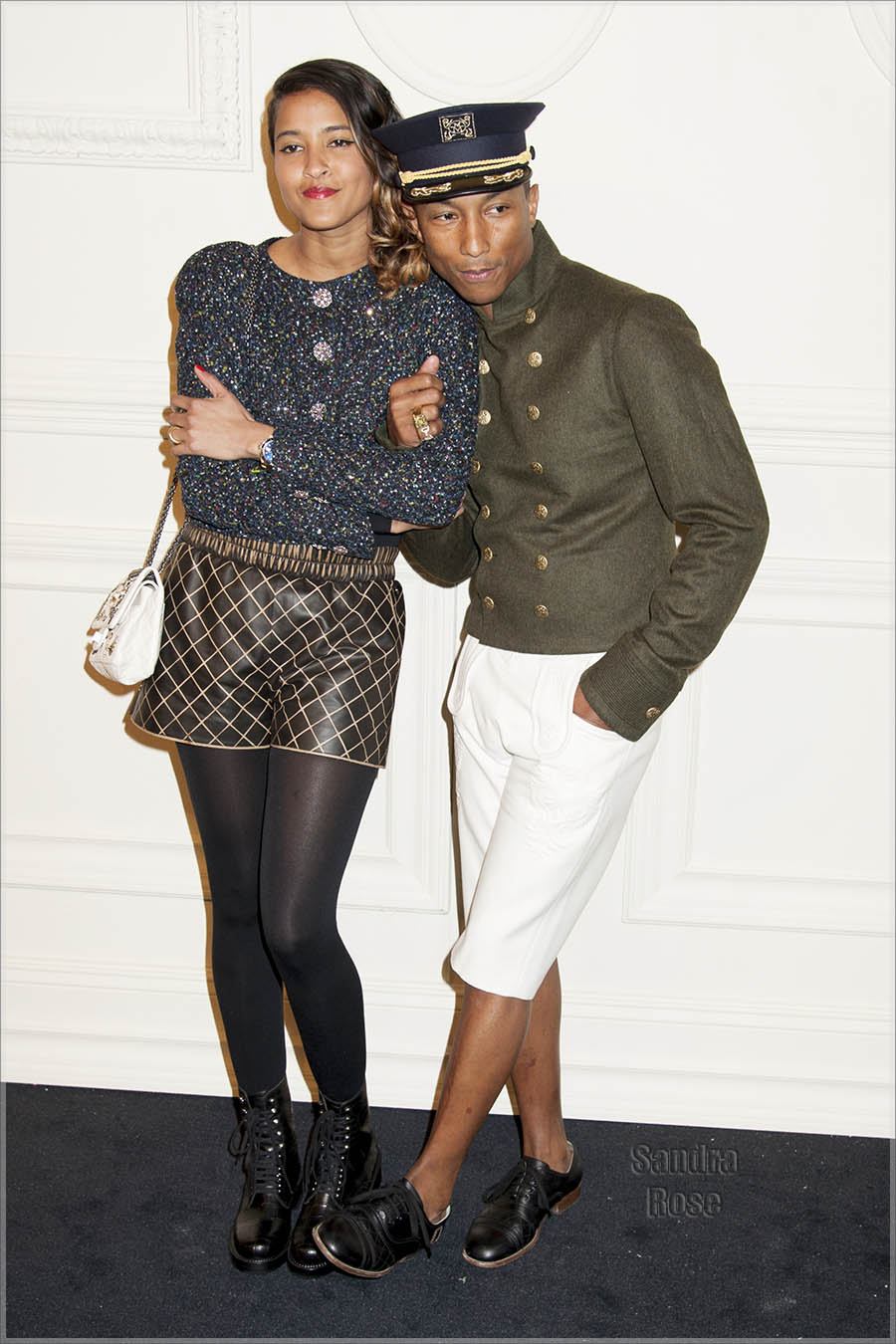 Pharrell Williams and Helen Lasichanh at CHANEL Show