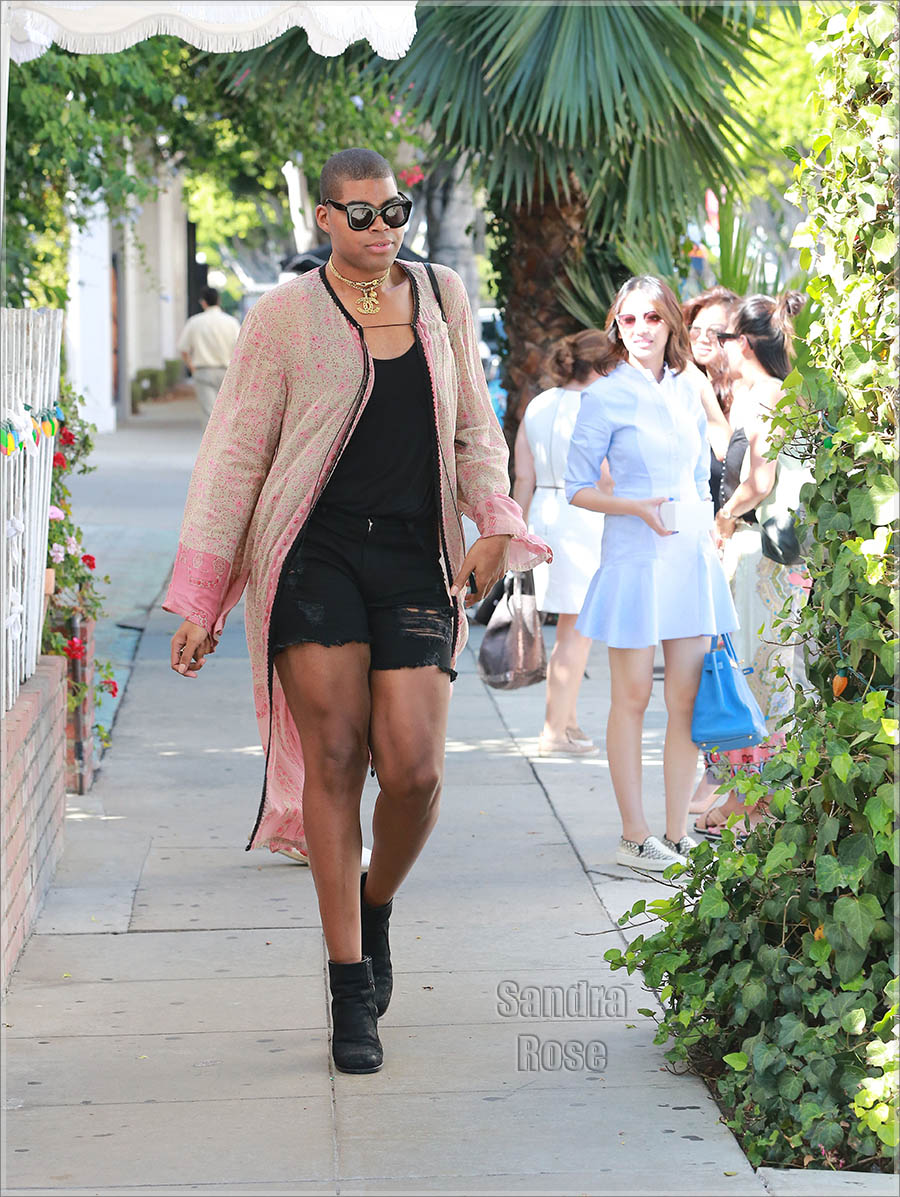 EJ Johnson leaving The Ivy in Chanel