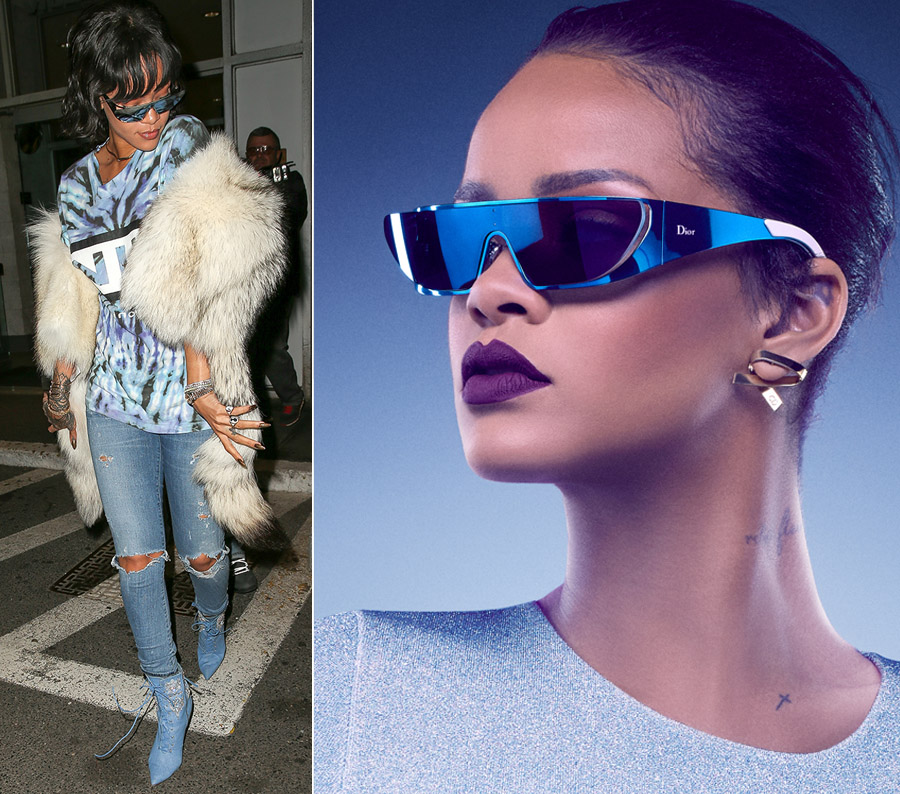 Rihanna wearing Dior sunglasses