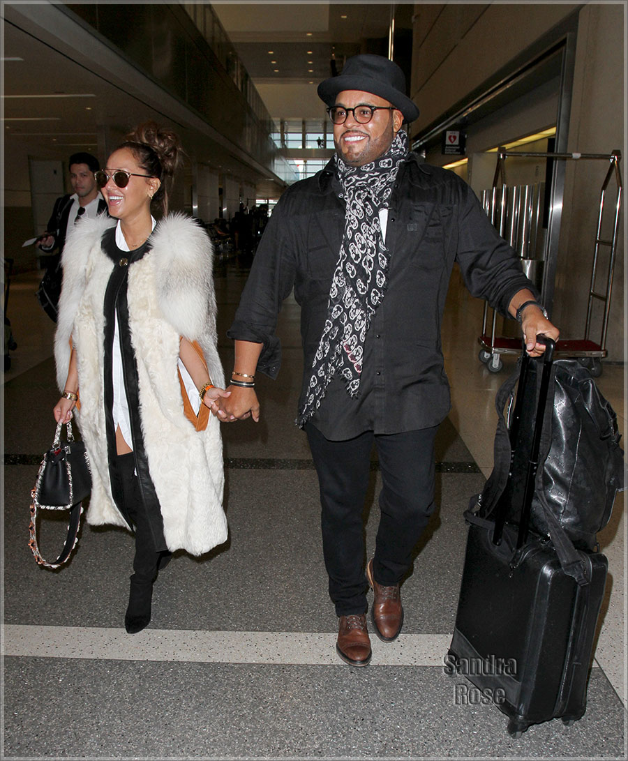 Adrienne Bailon, Israel Houghton at LAX