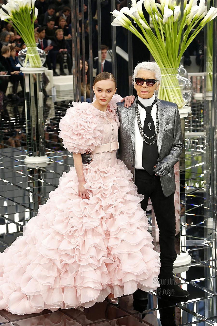 Lily-Rose Depp, Karl Lagerfeld at Paris Fashion Week