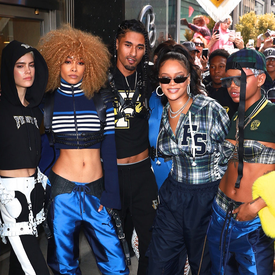 pretty nice f4221 bf204 PICS: Rihanna Enters Fenty x Puma Pep Rally to Cardi B's ...