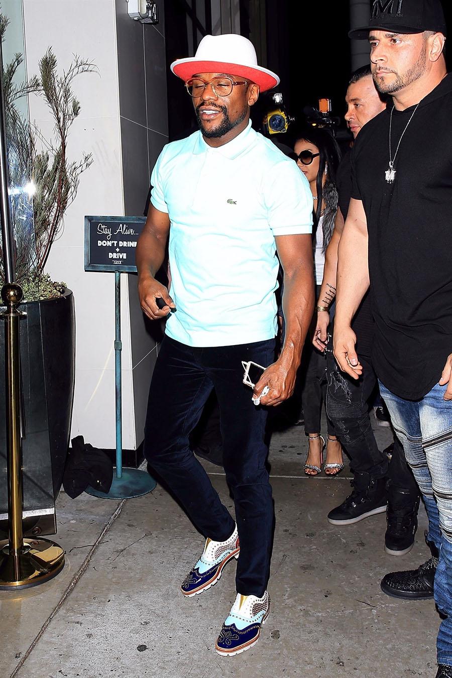 Floyd Mayweather Jr Wearing Christian Louboutin Sandra Rose