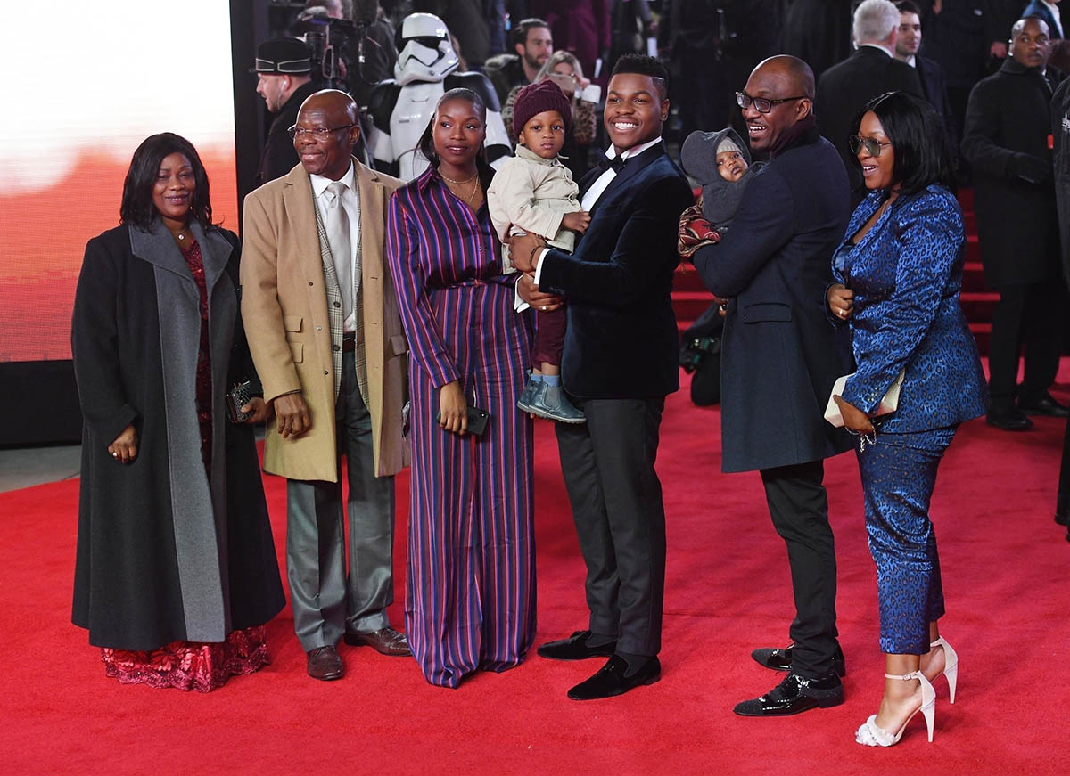John Boyega and family at London Premiere of Star Wars: The Last Jedi