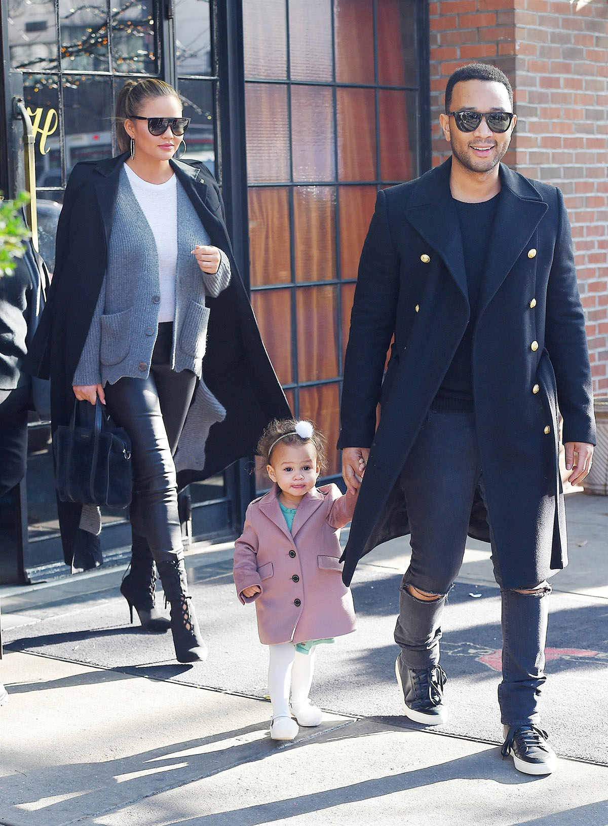 John Legend, Chrissy Teigen and daughter Luna in NYC