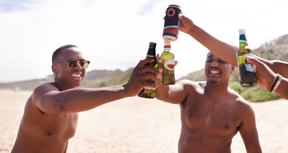 Black men drinking beer