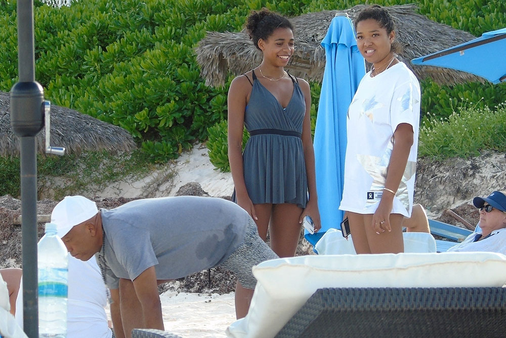 Russell Simmons in the Bahamas with daughter Ming Lee on New Year's Day