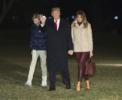 President Donald Trump, Melania Trump and son Barron return from Florida
