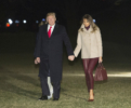 President Donald Trump, Melania Trump and son Barron return from Florida