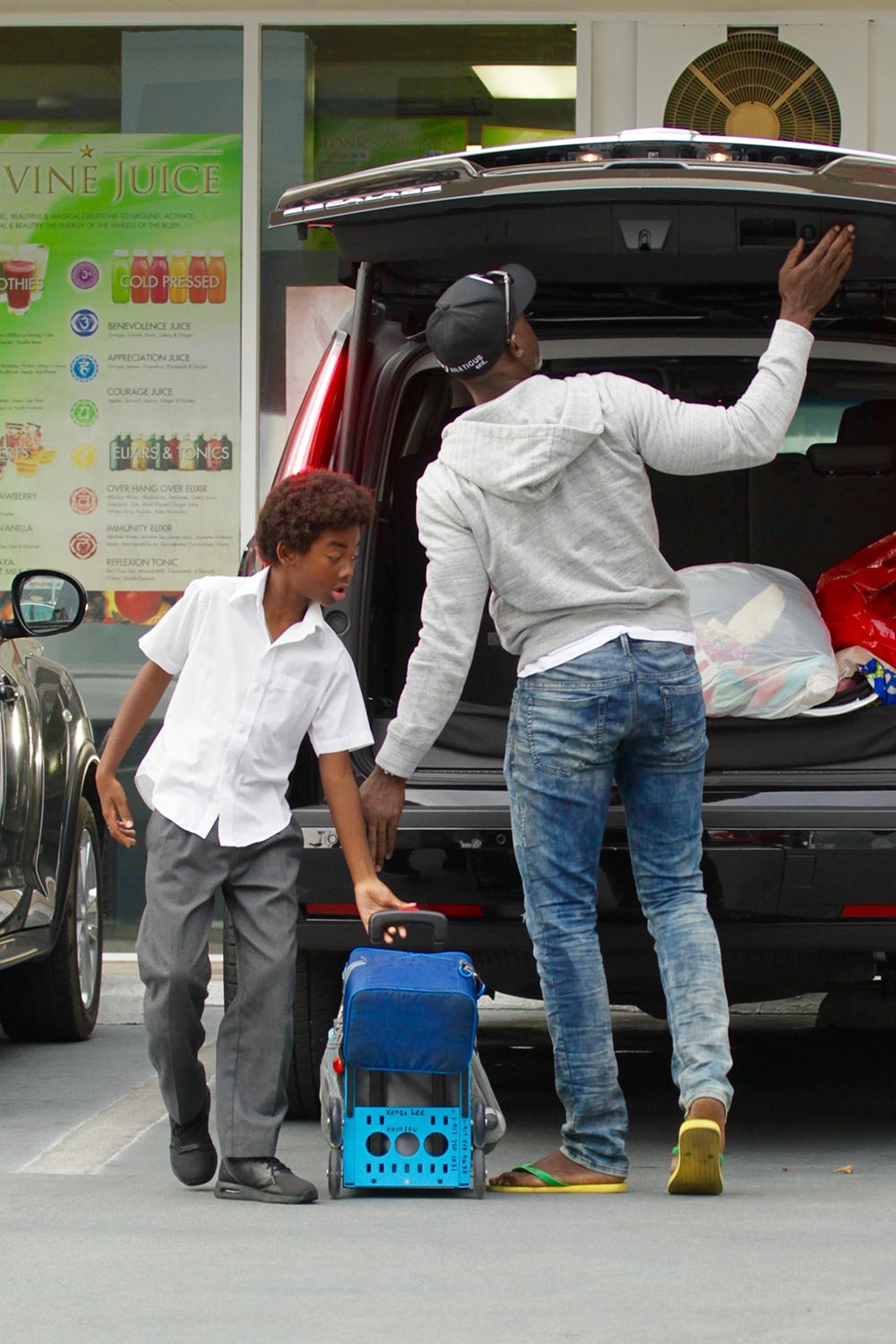 Djimon Hounsou takes his son Kenzo to tutoring