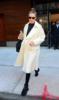 Gigi Hadid wears white alpaca wool coat in New York