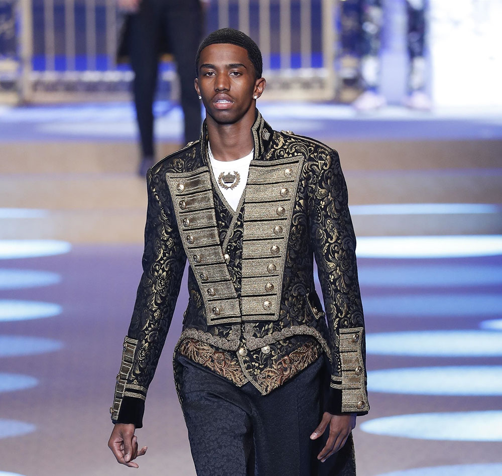 Christian Combs walks for Dolce & Gabbana during Milan Fashion Week
