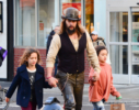 Jason Momoa takes a stroll with his kids in SoHo