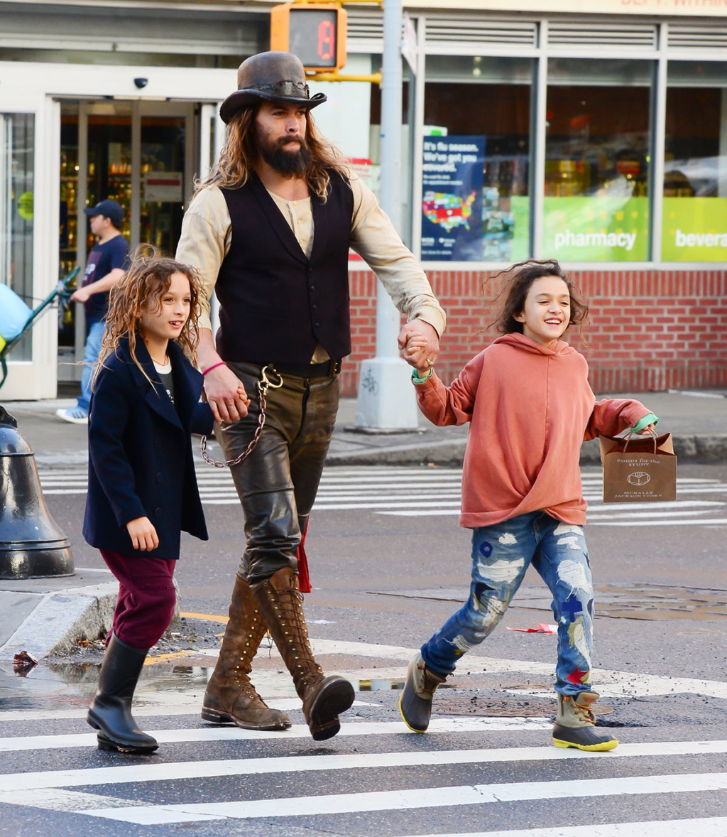Jason Momoa Takes A Stroll With His Kids