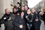 Bella Hadid poses with photographers for Fashion Week
