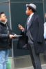 Jay Z is seen speaking to fan before the Roc Nation event