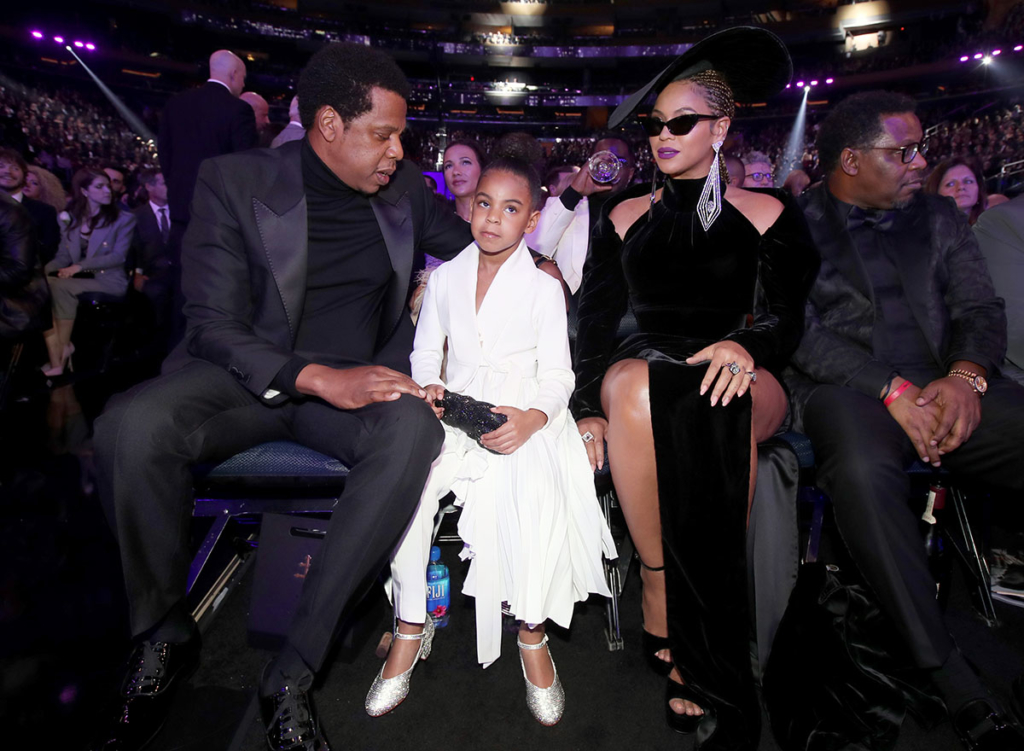 Jay-Z, Blue Ivy Carter and Beyonce attend the 60th Annual GRAMMY Awards