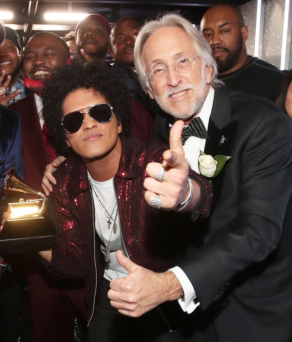 Bruno Mars with Grammys President Neil Portnow at 60th Annual GRAMMY Awards