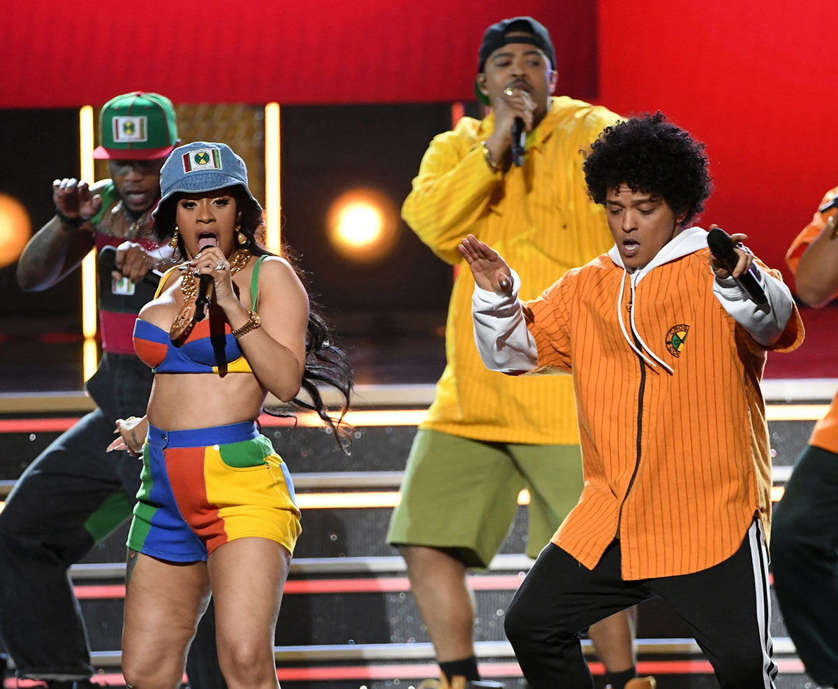 Cardi B (L) and Bruno Mars perform during the 60th Annual GRAMMY Awards