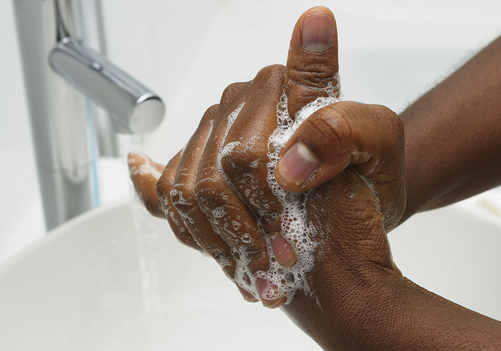 African American hand washing scrub technique