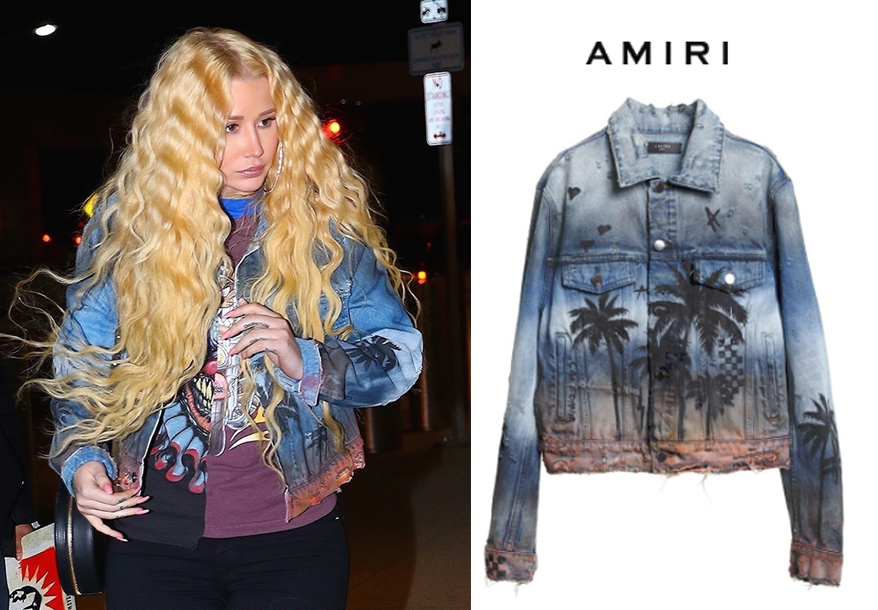 Iggy Azalea wearing Amiri Palm Denim Trucker jacket on arrival to JFK