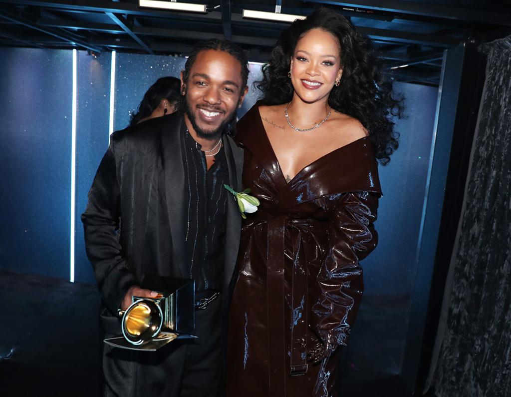 Kendrick Lamar (L) and Rihanna attend 60th Annual GRAMMY Awards