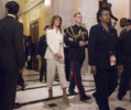 U.S. first lady Melania Trump departs The Capitol