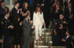 First lady Melania Trump arrives to the State of the Union address