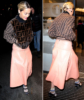 British singer Rita Ora at a Radio Appearance in London, wearing a Fendi fur bomber