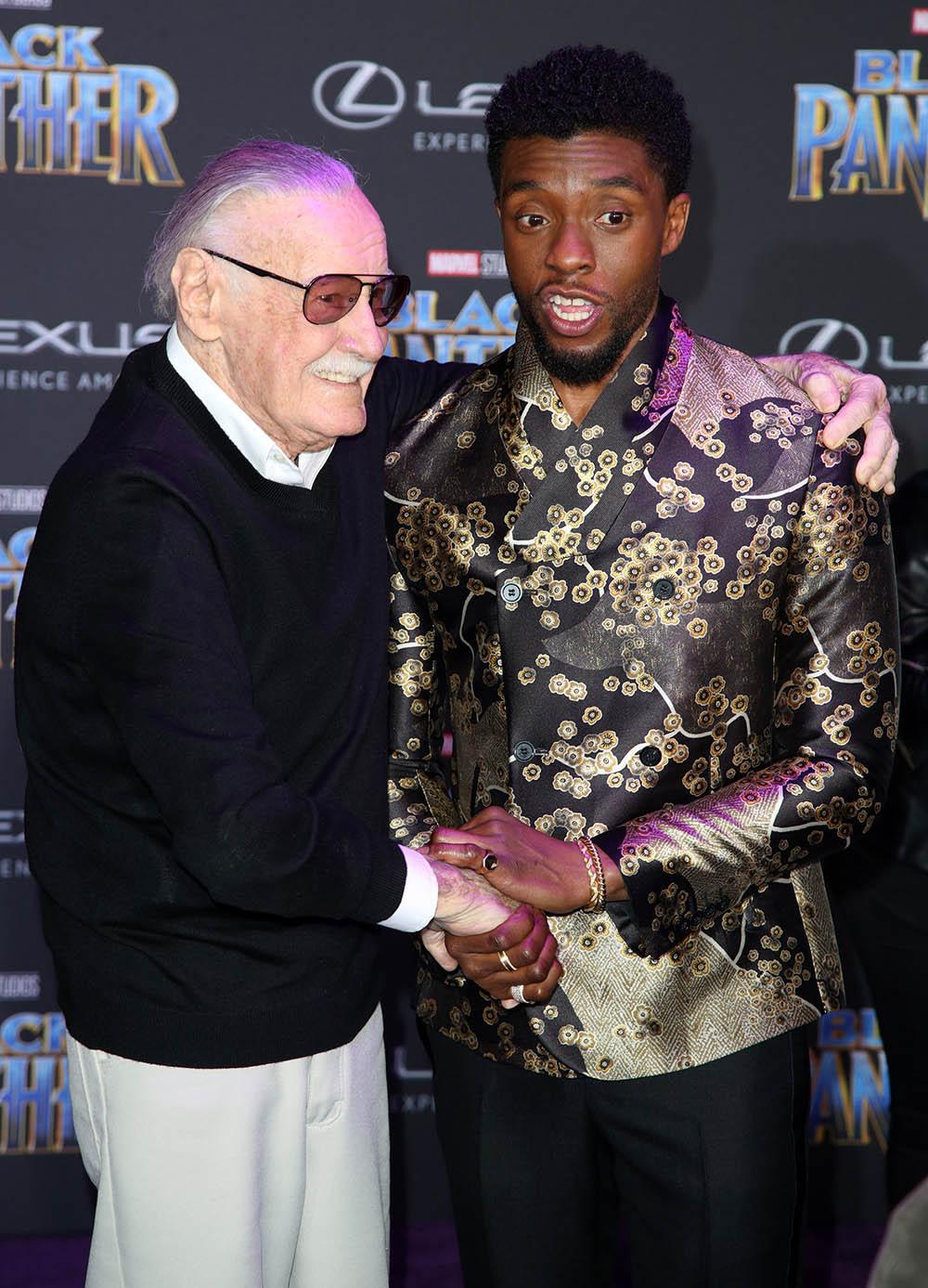 Stan Lee Chadwick Boseman At Film Premiere Of Black Panther Sandra Rose